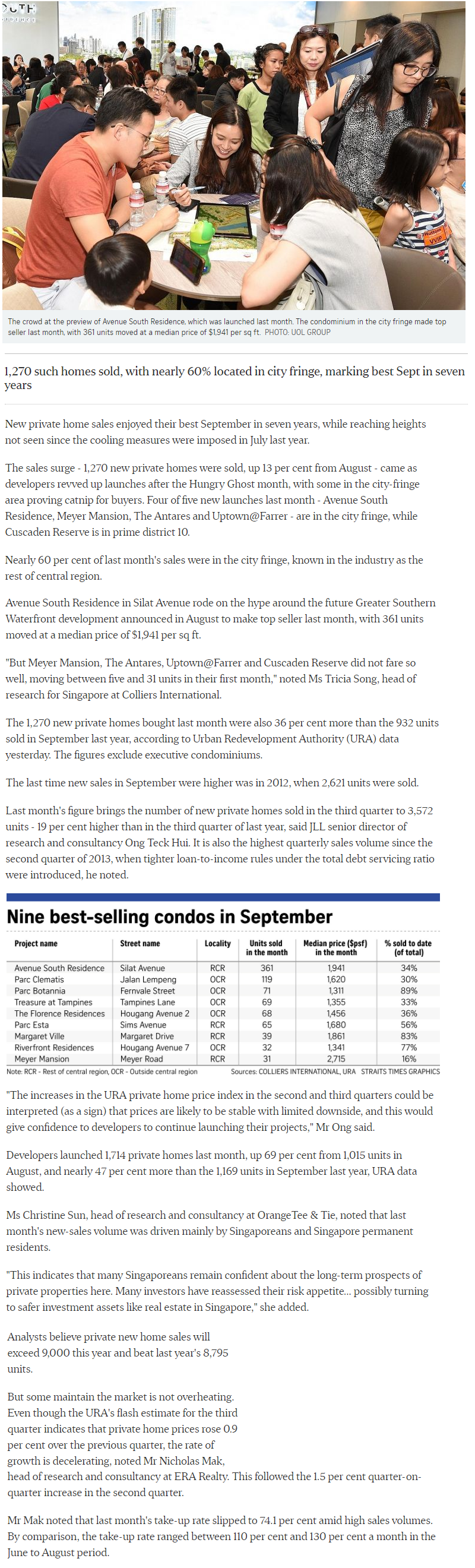 One Bernam - New Private Home Sales Hit A High In Sept