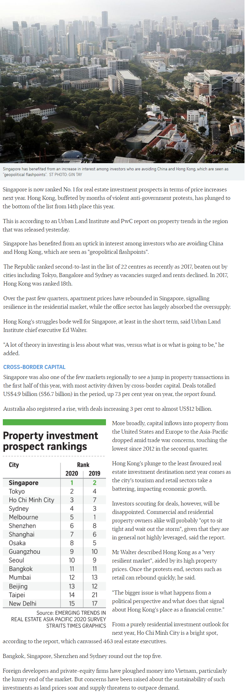 One Bernam - Singapore Tops Region For Property Investment Prospects