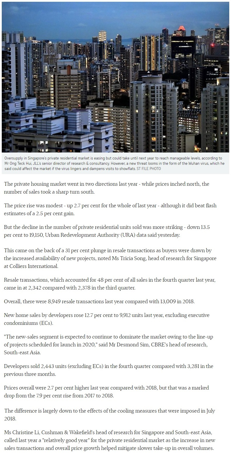 One Bernam - Singapore private home prices inch up 2.7% for 2019 Part 1