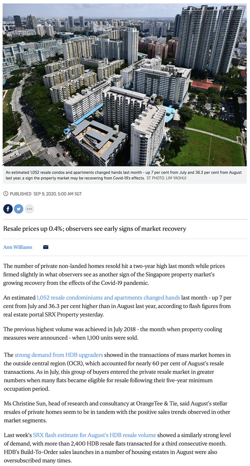 One Bernam - Private home resale volume hits 2-year high in Aug: SRX 1