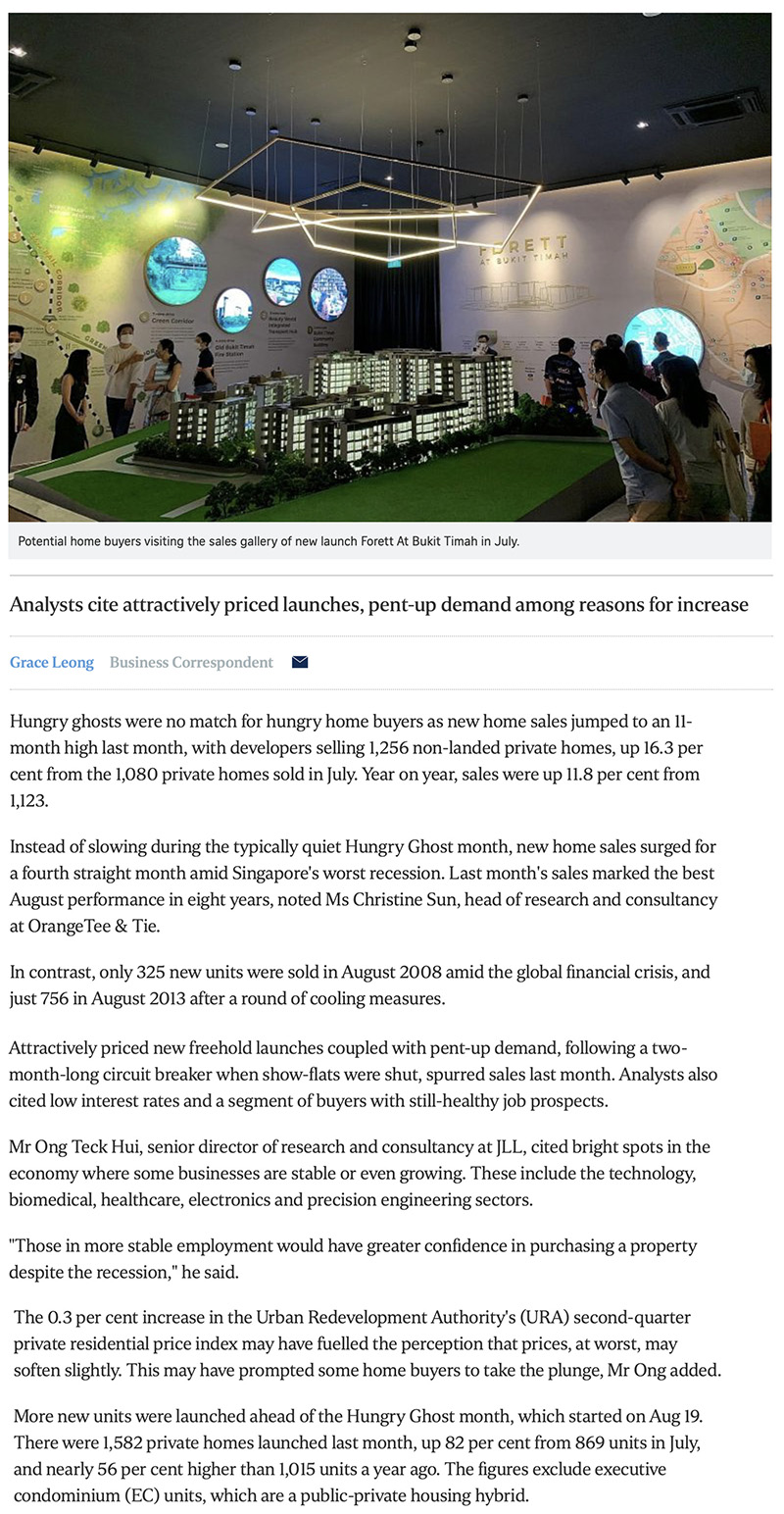 One Bernam - New home sales surge to 11-month high in August 1